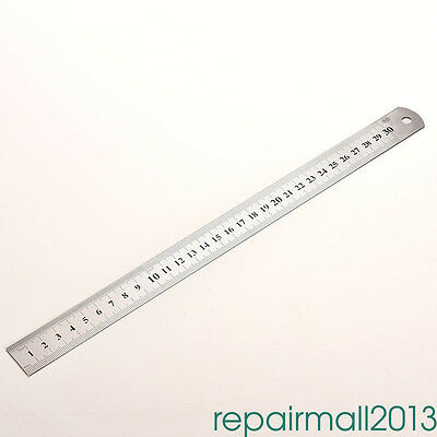 30Cm 6 Inch Stainless Steel Metal Ruler Rule Precision Double Sided Dh