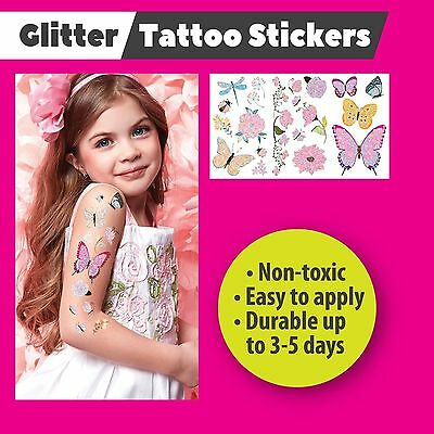 BUTTERFLY Temporary Kids Colour Glitter Tattoo Stickers Party Bags Tattoos Gift