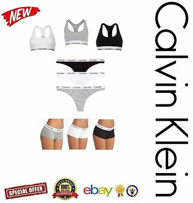 Calvin Klein Women's Underwear Set 3 in 1 Racer-back Bra Thong Boy-short