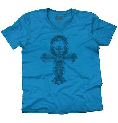 Ankh Cross Spiritual Ancient Egyptian Scarab V-Neck Tees Shirts Tshirt T-Shirt