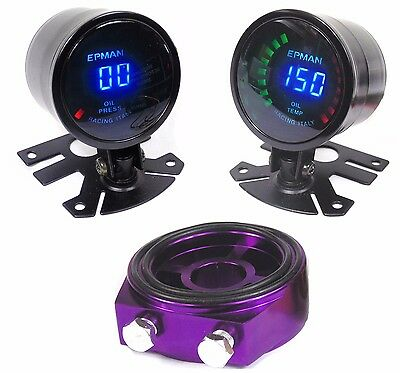 Evo 4 5 6 7 8 9 Digital Oil pressure & Temp Gauge with Oil Filter Adapter Plate