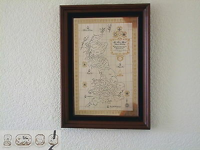 SUPERB QE II HM STERLING SILVER HISTORICAL MAP OF GB a
