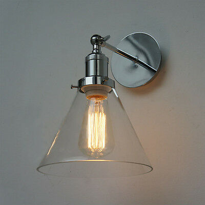 Loft Fashion Glass& Chrome Vintage Industrial  Wall Light Sconce Lamp Fixture