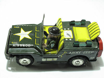 SANSHIN JAPAN; Tin Toy, US ARMY  Jeep-A 195800- 14 cm, Friktion, 1958