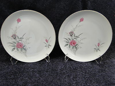 """Fine China of Japan Golden Rose Dinner Plates 10 1/2"""" TWO Plates EXCELLENT!"""