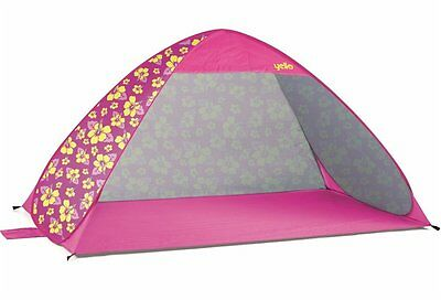 Yello Hibiscus Pink And Yellow Pop Up Beach Tent UPF 40 Sun Protection Shelter