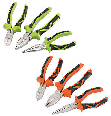 Draper 3Pc Soft Grip Combination Pliers Set Long Nose Cutters Nippers