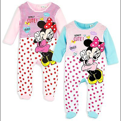 Disney Minnie Mouse Girls 100% Cotton Sleepsuit Onesie Babygrow Pyjamas pjs 2017
