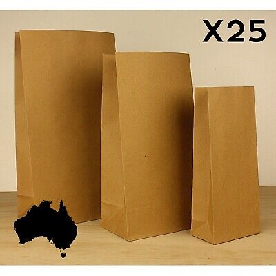 25x SMALL - MEDIUM - LARGE Brown PAPER BAG Kraft Bags Lolly Buffet Craft Market