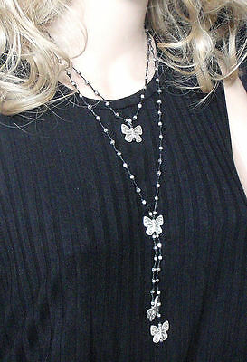 silver butterfly and beads double strand necklace layered Lagenlook black cord