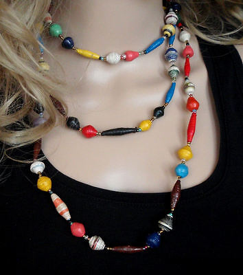 African paper bead long necklace colourful hand made Zulu jewellery fair trade