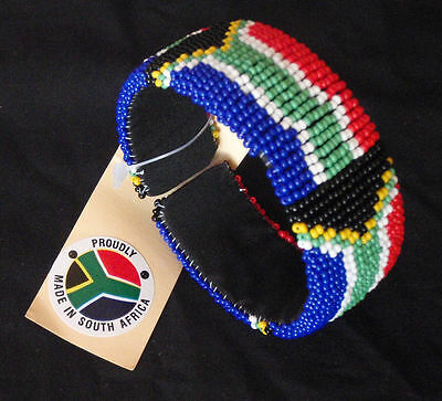 African Zulu beaded jewellery broad bangle bracelet South African flag hand made