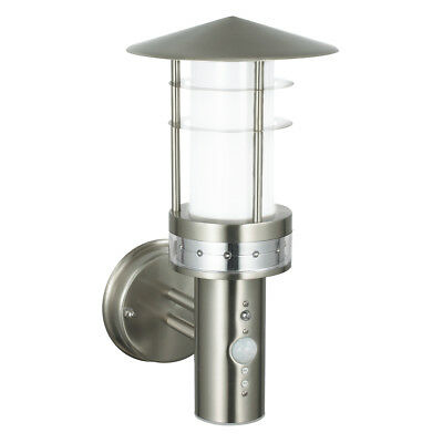 Outdoor Garden E27 LED PIR Photocell Stainless Steel IP44 Security Wall Light