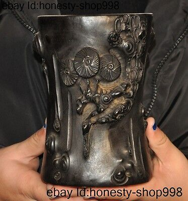 "6""Old China Antiques black Rosewood wood Hand-carved Pine Brush Pot Pencil Vase"