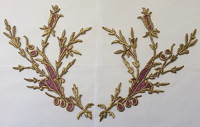 HUGE PIECES ANTIQUE OTTOMAN TURKISH GOLD METALLIC HAND EMBROIDERY F APPLIQUE 35c
