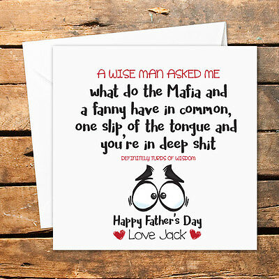 Personalised Handmade Fathers Day Card Funny Rude Dad Daddy Birthday Wise Man