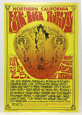 JIMI HENDRIX Airplane LED ZEPPELIN others Original 1969 Festival Concert Poster