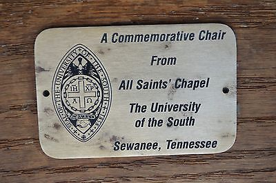 Commemorative Chair From All Saints Chapel University Of The South Tennessee