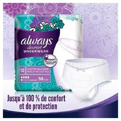 PAQUET 12 ALWAYS DISCREET UNDERWEAR CULOTTE taille basse DE PROTECTION M 36 / 44