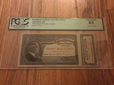 1924 Republican National Convention Ticket President Calvin Coolidge PCGS 63