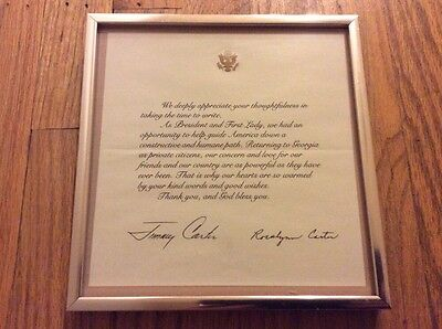 Vintage PRESIDENT JIMMY CARTER Framed Thank You Note Card Certificate Rosalyn