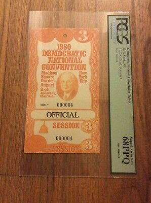 1980 Democratic National Convention #4 Official Ticket Jimmy Carter PCGS 68PPQ