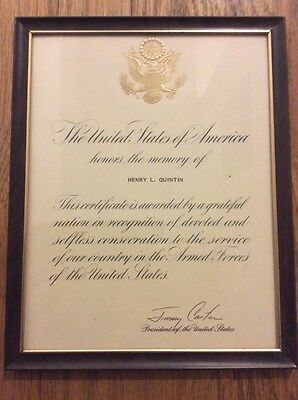 Vintage PRESIDENT JIMMY CARTER Singed Framed Memorial Certificate