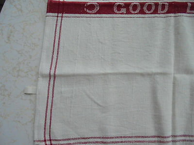 """Vintage LINEN w/RED details TABLECLOTH Horseshoes & """"GOOD LUCK"""" 29 x 27 inches"""