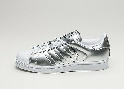 release date 22976 b585e ADIDAS SUPERSTAR SHOES Women Color Silver Metallic Style Cg3681