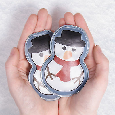 Pack of 2 Reusable Snow Man Snowman Hand Warmers Great Stocking Filler NEW