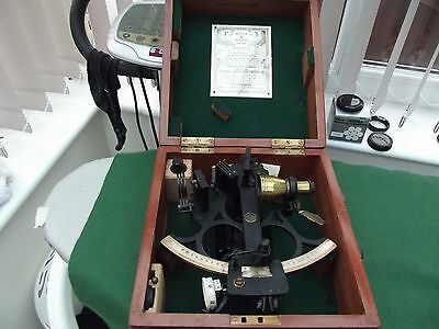 Vintage Sextant By H Hughes & Son Ltd In Fitted Wooden Case