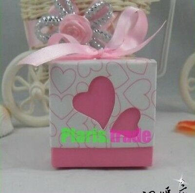 50pc/100pcs MODERN Love Heart Design Wedding Sweet Favor Boxes-Pink With Ribbon