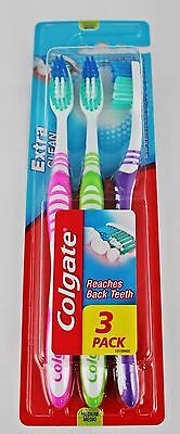 3 Pack Colgate Extra Clean Toothbrush Medium Bristles Soft Grip Tooth Brush