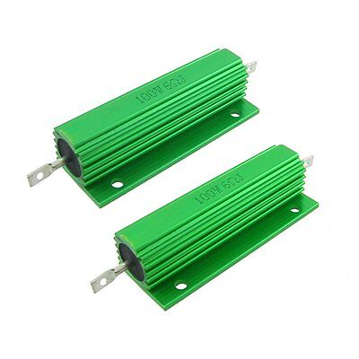 2 Pcs Chasis Mounted Green Aluminum Clad Wirewound Resistors 100W 6 Ohm 5% G6V9