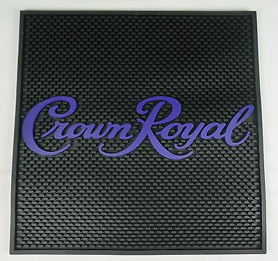 "Crown Royal Bar Spill Mat 13.75"" x 13.75""  Bar Restaurant Man Cave Black Purple"