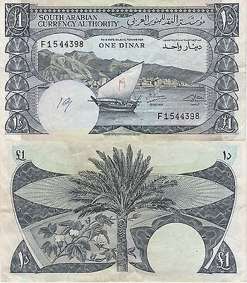 Yemen Democratic Republic 1 Dinar Banknote,(1965) Extra Fine Condition Cat#3-B