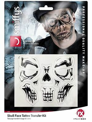 Skull Face Tattoo Transfer, Halloween Fancy Dress,