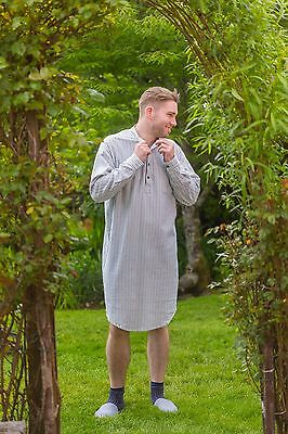 Irish Nightshirt Lee Valley Flannel Mens - LV2 Blue/Ivory Stripe Free Shipping