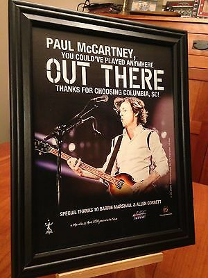 """BIG 10x13 FRAMED PAUL McCARTNEY """"LIVE IN COLUMBIA SC 2014"""" CONCERT TOUR PROMO AD"""