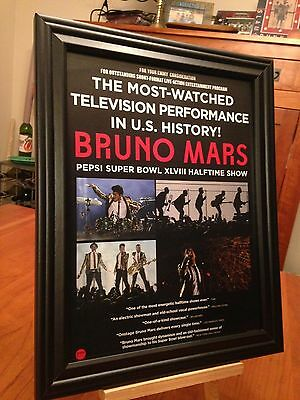 "BIG 10x13 FRAMED ""BRUNO MARS - SUPER BOWL 48"" CONCERT LP ALBUM CD PROMO AD"