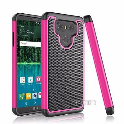 Fits LG G6 Case Shockproof Rugged Rubber Impact Hybrid Hard Armor Cover - Pink