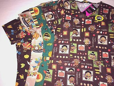 Thanksgiving - Turkey Day Holiday Fall Scrub Top - Nurse Medical Dental You Pick