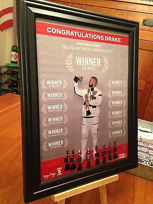 "2 BIG 10x13 FRAMED DRAKE ""2015 GRAMMY"" & ""2017 BILLBOARD AWARD"" LP CD PROMO ADS"
