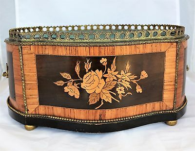 Antique Louis XV French Bronze Mounted Wood rose Parquetry Marquetry Jardiniere