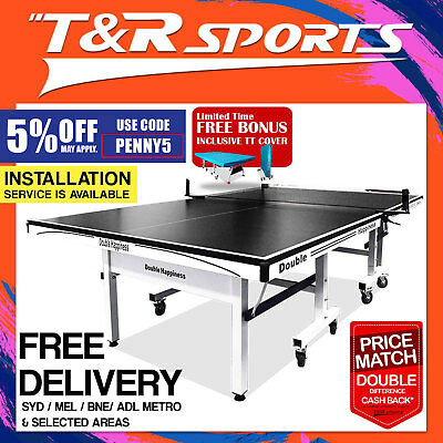 New 19mm Double Happpiness Ping Pong Table Tennis Table Black Surface Free Gift