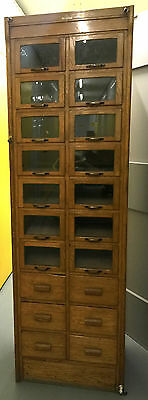 Dudley And Co  Oak Haberdashery Shop Glass 20 Drawers Cabinet Antique Storage