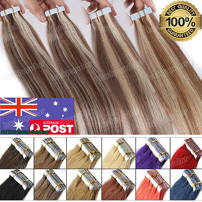 Brazilian Remy Human Hair Extensions Seamless Tape in Skin Weft Hair 20/40Pcs AU