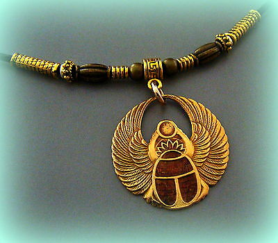 EGYPTIAN Pendant Necklace ART DECO Vintage Style Winged SCARAB Beetle Jewelry