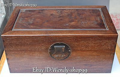 "20"" Big Chinese Huanghuali Wood Ancient Treasure Storeage Chest Box Case Statue"