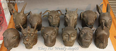 Old Chinese Pure Bronze 12 Zodiac Year Horse Dragon Snake Animal Head Statue Set